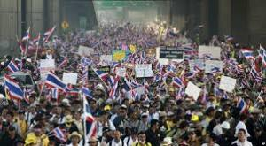 Thai anti-government protesters or 'yellow shirts' as they are also called.