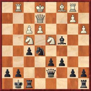 After 15...Bh4 16 g3 Bxg3 17 hxg3 Nxg3 18 Rg1 Nxe2 19 Qxe2